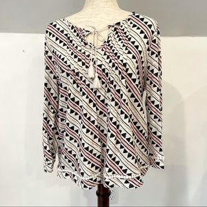 Lucky Brand tie front peasant top size M